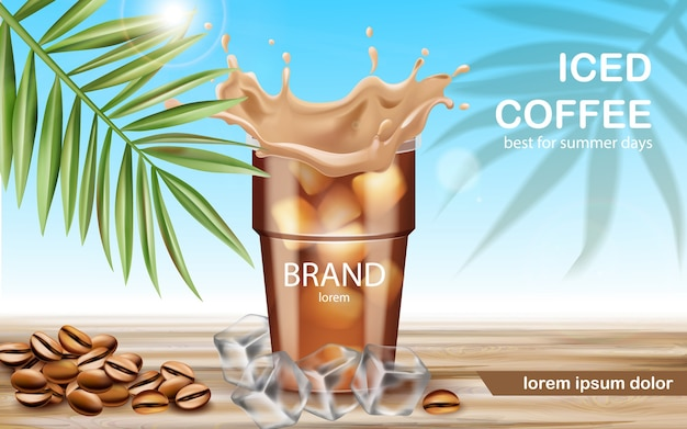 A cup with iced coffee surrounded by ice cubes and roasted beans. best for summer days. place for text. Premium Vector