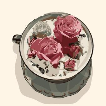 접시에 장미와 컵입니다. 벡터 패션 일러스트