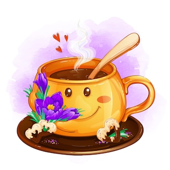 春のクロッカスとハートチョコチップクッキーのカップ