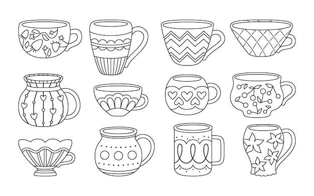 紅茶またはコーヒーとカップ黒アウトライン漫画スタイル