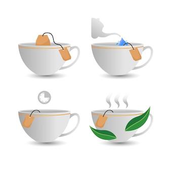 티백 가이드 흰색 절연 컵