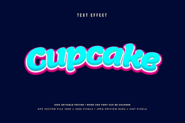 Cupcake 3d text effect on navy background
