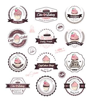 カップケーキとベーカリーのロゴデザインテンプレート