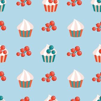 Кекс и ягоды красной смородины бесшовные модели.