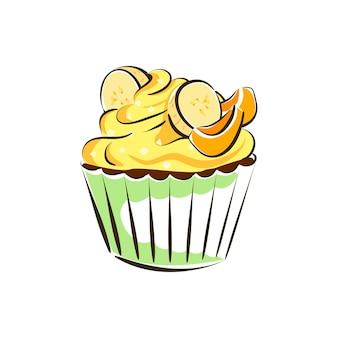 Cupcake banana yellow cream cake garnished with banana pieces isolated vector illustration