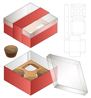 カップケーキボックス包装ダイカットテンプレートデザイン。 3d