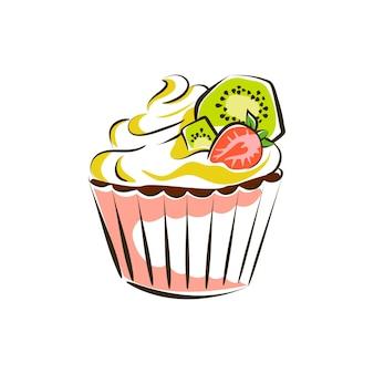 키위와 딸기 조각 벡터 삽화로 장식된 피스타치오 크림을 곁들인 컵케이크 케이크