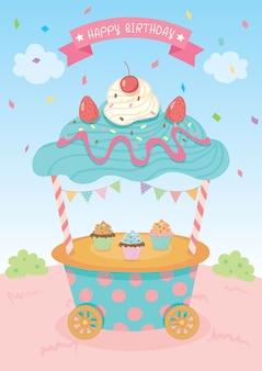 Cupcake cart isolated Premium Vector