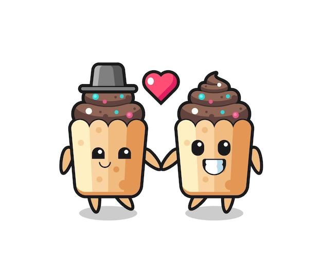 恋に落ちるジェスチャー、かわいいデザインとカップケーキ漫画のキャラクターのカップル