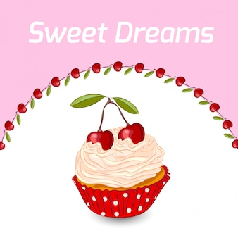 Cupcake and cherry  greeting card template