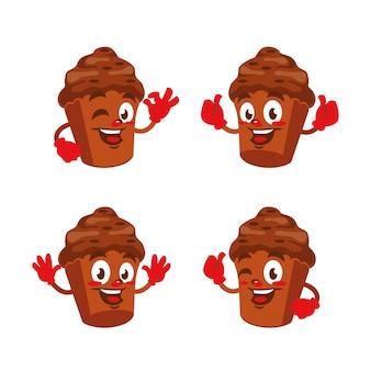 Кекс шоколадный мультипликационный персонаж дизайн