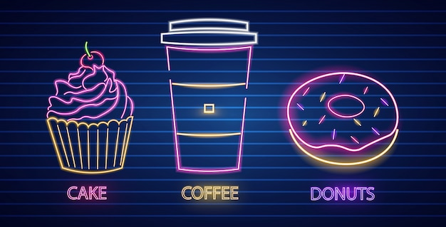 Cupcake, coffee and donut neon symbols
