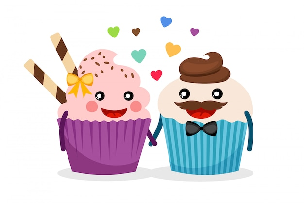 Cupcake couple vector illustration. sweet cupcakes hold hands isolated with confetti