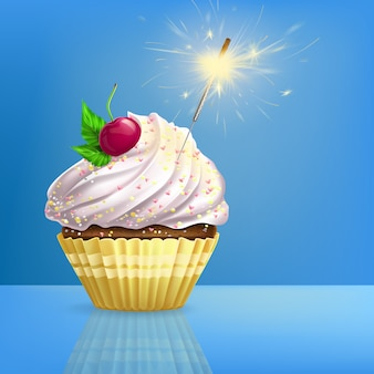 Cupcake decorated fired sparkler realistic