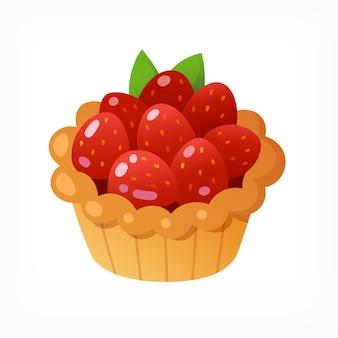 イチゴで満たされたカップケーキデザート分離ベクトル画像