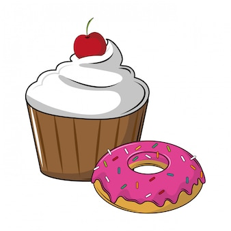 Cupcake and donut