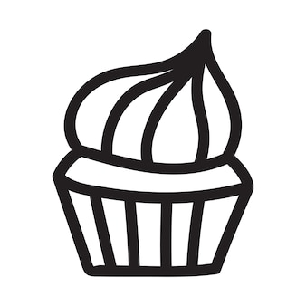 Cupcake doodle drawing. icon suitable for logo, pattern design. vector illustration.