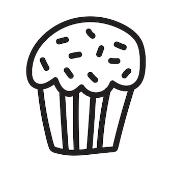 Cupcake doodle drawing icon suitable for logo pattern design