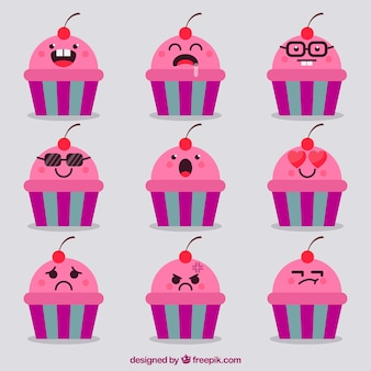 Cupcake emoticons with great facial expressions