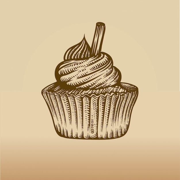 Cupcake in engraving style