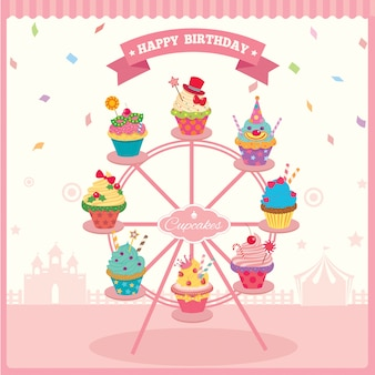 Cupcake ferris wheel birthday
