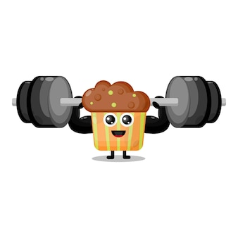 Cupcake fitness barbell cute character mascot