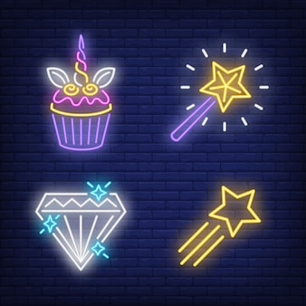 Cupcake, flying star, diamond and magic wand neon signs set