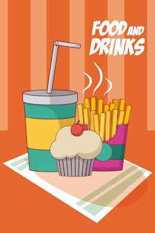 Cupcake, french fries and soda