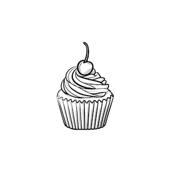 Cupcake hand drawn outline doodle icon. vector sketch illustration of cupcake with berry for print, web, mobile and infographics isolated on white background.