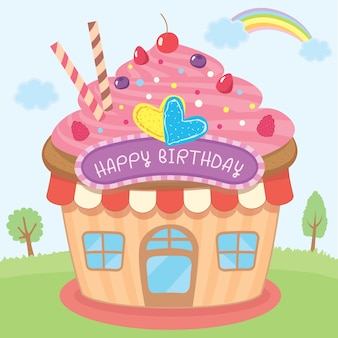 Cupcake house design for birthday card