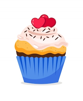 Cupcake illustration with hearts decoration and confetti