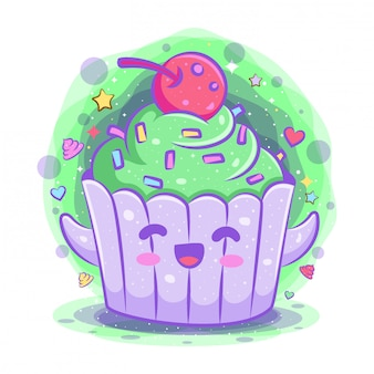 Cupcake kawaii cartoon character