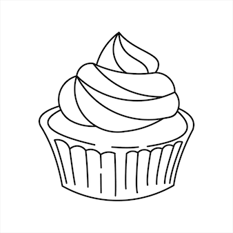 カップケーキラインアートぬりえの本の要素