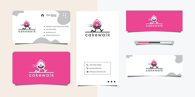 베이커리 비즈니스 및 명함을 위한 꽃무늬 요소가 있는 컵케이크 로고 디자인