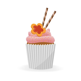 Cupcake, muffin on an isolated white