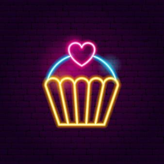 カップケーキネオンサイン。食品プロモーションのベクトルイラスト。