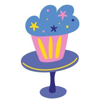접시에 컵 케 익입니다. 장식, 기념일, 결혼식, 생일, 어린이 파티를 위한 평면 스타일의 휴일 요리 아이콘. 달콤한 패스트리, 머핀, 컵케이크. 평면 스타일의 벡터 일러스트 레이 션.