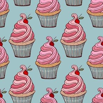 체리와 컵 케이크 패턴