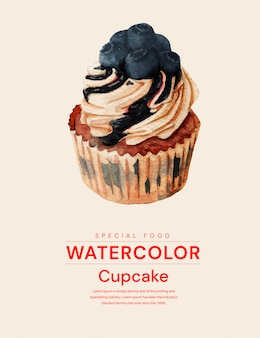 カップケーキのリアルな水彩イラスト
