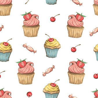 Cupcake seamless pattern. vector illustration. hand draw