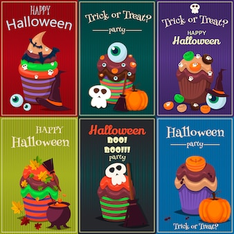 Cupcake set. happy halloween scary sweets poster.