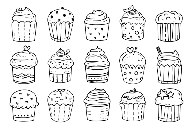 Cupcake sketches doodle outline drawing set