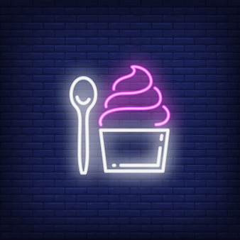Cupcake and spoon neon sign