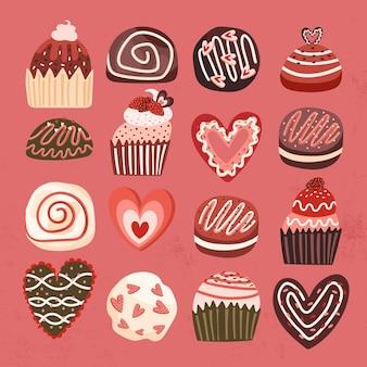 컵 케이크 달콤한 초콜릿 손 그리기 과자 그린 쿠키 디자인 심장 요소