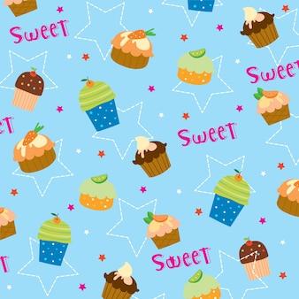 Кекс сладкий милый мультфильм подарочная упаковка дизайн вектор