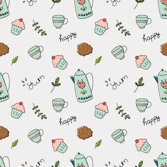 Cupcake and tea doodle background vector illustration