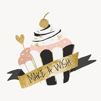 Adesivo modello cupcake, grafica vettoriale con elementi estetici in oro e pastello
