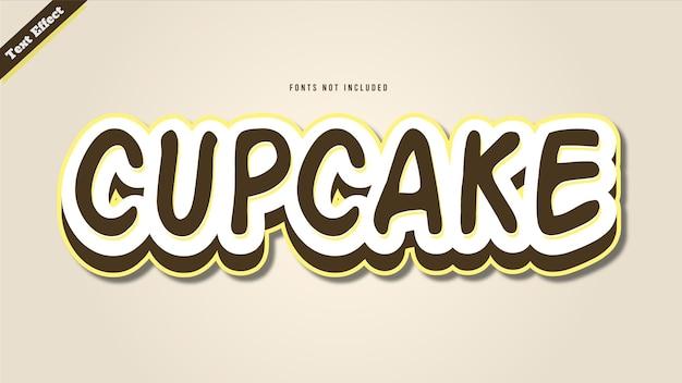 컵 케이크 텍스트 효과 디자인 벡터 3d 스타일 편집 가능한 글꼴 효과.