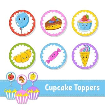 컵케이크 토퍼 6개의 라운드 그림 세트