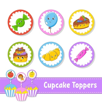 Cupcake toppers set of six round pictures
